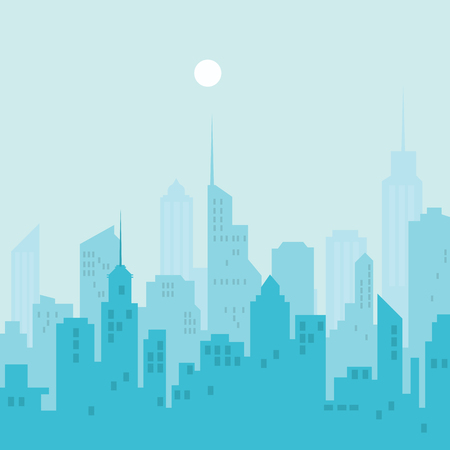 City silhouette skyline illustration.