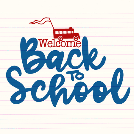 Welcome back to school hand brush lettering; doodle or hand drawn school bus and back to school text, with black thick backdrop. Illustration