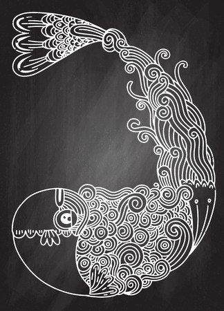 Decorative fish drawing with abstract ornaments; Hand drawn doodle outline fish illustration.