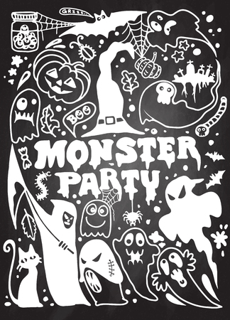Hand drawn Halloween doodle such as witch, pumpkin, spider; Halloween party, Trick or treat poster