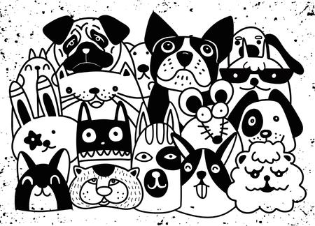 国内のペットのグループには、犬、ラット、ウサギ、漫画、落書きスタイルのイラストが含まれています。