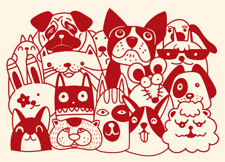 Group of domestic pet includes dog, rat, rabbit, in cartoon, doodle style illustration.