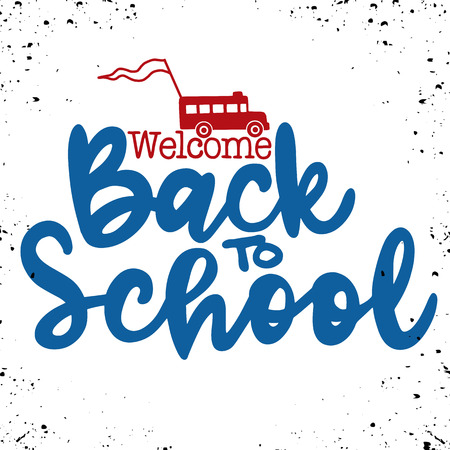 Welcome back to school hand brush lettering, doodle or hand drawn school bus and back to school text, with black thick backdrop.