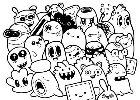 Conjunto De Monstros Fofos Engracados Alienigenas Ou Animais De