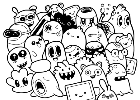 Set of funny cute monsters, aliens or fantasy pet for kids coloring books or t-shirts; Hand drawn, line art, cartoon, doodle style illustration.