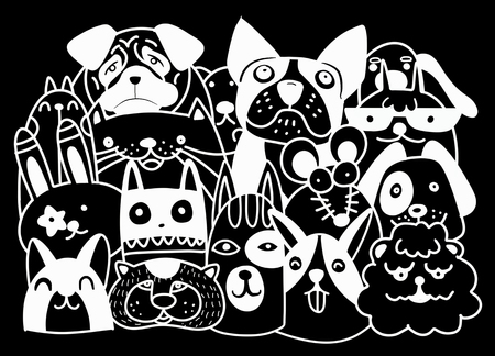 Set of cute pets icon.