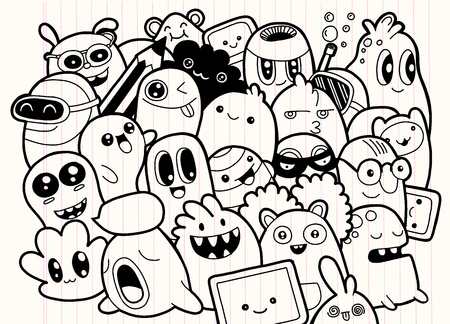 Set of cute monsters icon.