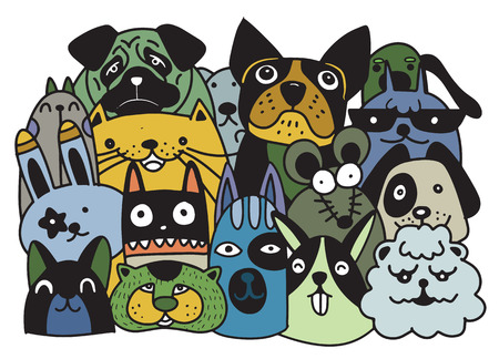 Group of domestic pets such as dog, rat, rabbit, in cartoon, doodle style illustration, designed for pet shop.