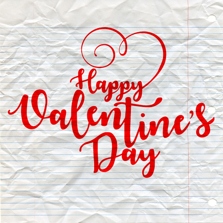 Happy Valentines Day typography poster with handwritten calligraphy text, on lined crumpled paper. Illustration