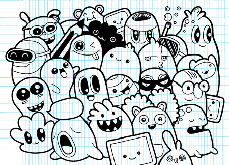 Set of funny cute monsters, aliens or fantasy pets for kids coloring books or t-shirts; Hand drawn line art cartoon, doodle style illustration.