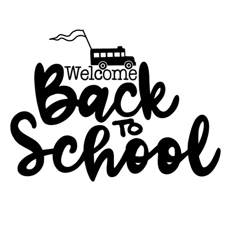 Welcome back to school hand brush lettering, doodle or hand drawn school bus and back to school text. Illustration
