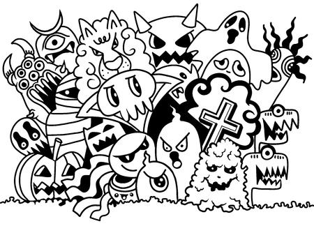 Cute Scary Halloween Monsters and ghost,Vector illustration