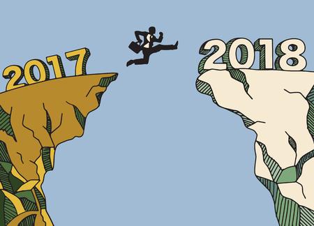 Een zakenman die tussen 2017 en 2018 springt. Gelukkig nieuw jaar 2018. Nieuw jaar nieuw beginconcept, Vectorillustratie Vector Illustratie