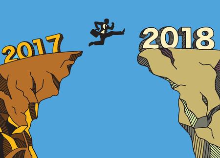 Een zakenman die tussen 2017 en 2018 springt. Gelukkig nieuw jaar 2018. Nieuw jaar nieuw beginconcept, Vectorillustratie
