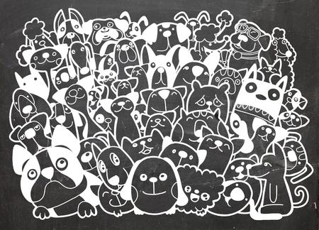Groupe de chiens et de chats de griffonnage, différentes espèces de chiens et de chats, Illustration vectorielle Banque d'images - 87900693