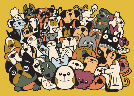 doodle dogs and cats group,Different species of dogs and cats, Vector Illustration