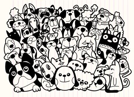 落書き犬や猫のグループ、犬や猫、ベクトル図の種