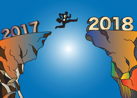A Businessman jumping between 2017 and 2018. Happy new year 2018. New year new beginning concept ,Vector illustration