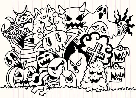 Leuke enge Halloween-monsters en geest