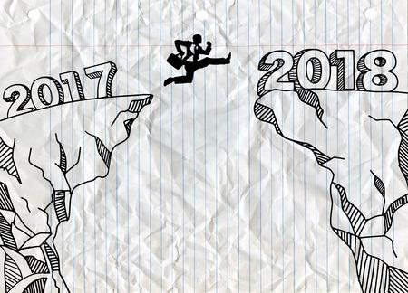 Een zakenman die tussen 2017 en 2018 springt