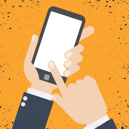 Hand holding smartphone on the screen, flat design style illustration. Illustration