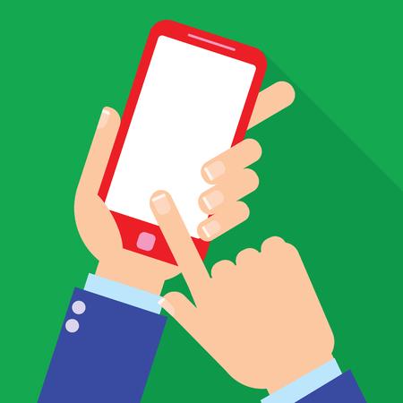 Hand holding smartphone on the screen, flat design style illustration Illustration