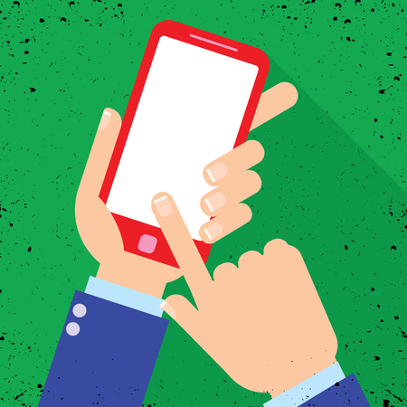 Hand holding smartphone on the screen, flat design style illustration Ilustrace