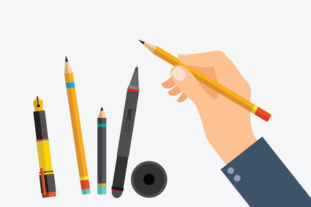 Mans hand with writing tools and office supplies set. Flat illustration of human male hands with pen, pencil and Digital pen. Vector isolated on white background, can change tool in hand.