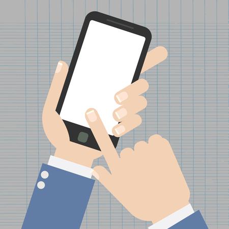 Hand holding smartphone on the screen, flat design style illustration Çizim
