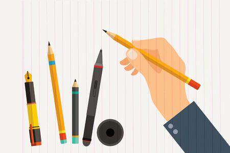 Man's hand met schrijfgerei en kantoorbenodigdheden set. Vlakke afbeelding van menselijke mannelijke handen met pen, potlood en digitale pen. Vector die op witte achtergrond wordt geïsoleerd, kan hulpmiddel in hand veranderen