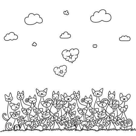 낙서 고양이 더미 구름 심장 및 하늘. 귀여운 배경입니다. 색칠하기 책, 포장, 인쇄, 직물 및 섬유에 적합합니다. 벡터 일러스트 레이 션 일러스트