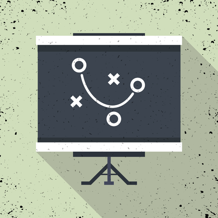 Tactical plan vector sketch icon isolated on background. Clipboard game plan. Flat design long shadow icon. Sport game strategy scheme. Vector silhouette symbol