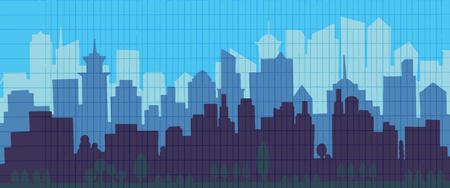 도시의 스카이 라인 벡터 일러스트 레이 션. 도시 경관. 푸른 도시 실루엣입니다. 평면 스타일의 도시입니다. 현대 도시 풍경입니다. 풍경 배경입니다.
