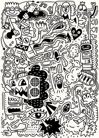 Fondo abstracto de la música, collage con los instrumentos musicales. Dibujo de la mano Doodle, ilustración del vector.