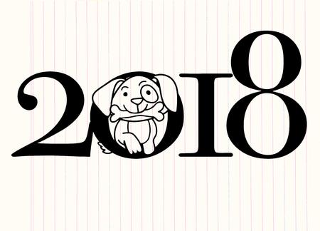 2018 Happy New Year greeting card. Celebration background with dog. 2018 Chinese New Year of the dog. Vector Illustration. Ilustração
