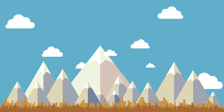 Flat Design Landscape Vector ,mountain sky and tree . Vector illustration. Фото со стока - 88110424