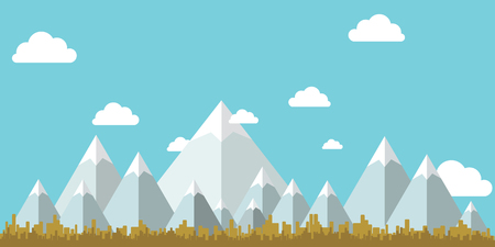 Flat Design Landscape Vector ,mountain sky and tree . Vector illustration.