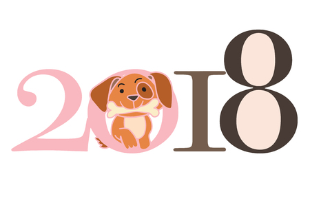 2018 Happy New Year greeting card. Celebration background with dog. 2018 Chinese New Year of the dog. Vector Illustration. Illustration