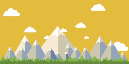 フラット デザイン風景ベクトル、山スカイ ツリー。ベクトルの図。