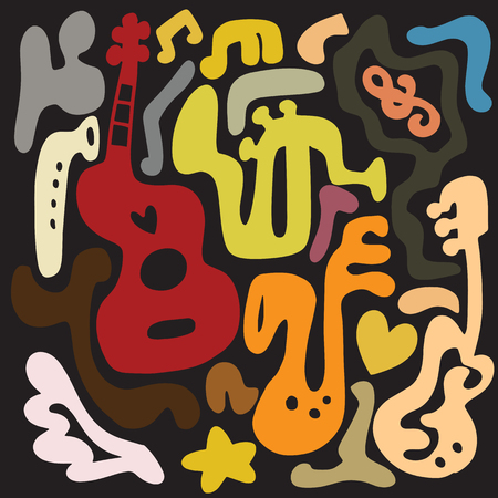 Musical instrument doddle. 向量圖像