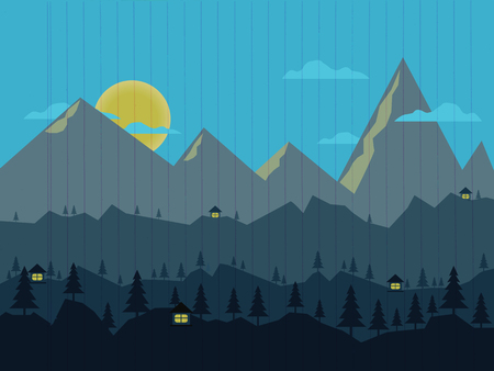 Night landscape with illuminated houses.