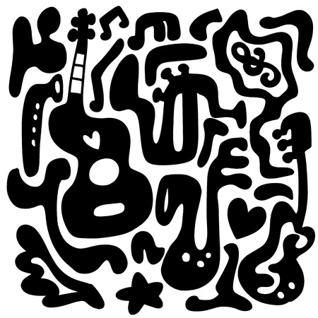 Modello senza cuciture con vari strumenti musicali. Astratto musica di sottofondo. Collage con strumenti musicali. Illustrazione vettoriale