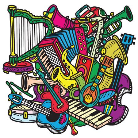 手描き落書き。楽器のコレクションです。音楽およびレクリエーションの時間 Concept.vector の図