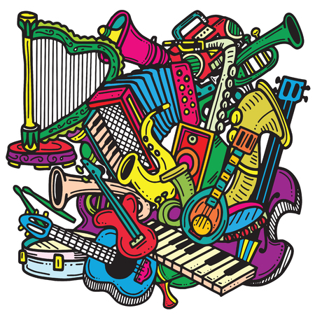 Hand Drawn Doodles. Collection of Music Instruments. Music and Recreation Time Concept.vector illustration Фото со стока - 88197291
