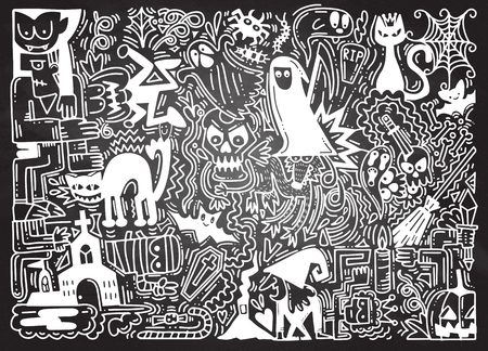 Hand Drawn Vector Illustration of Doodle Halloween background with pumpkin, cat, bat, ghost, skull, etc.