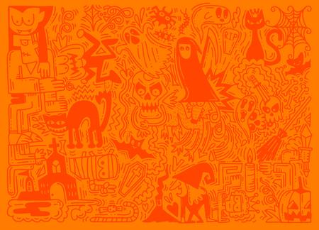 Illustration vectorielle dessinés à la main de doodle fond Halloween. Motif d'Halloween avec citrouille, chat, chauve-souris, fantôme, etc. Banque d'images - 88363586