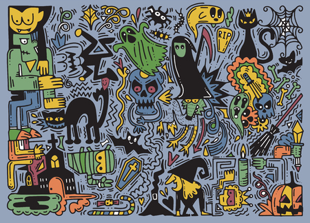 Hand drawn vector illustration of doodle Halloween background. Halloween pattern with pumpkin, cat, bat, ghost, and more. Illustration