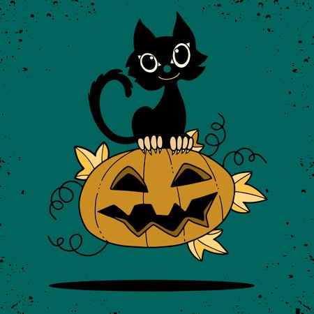 Illustration of Halloween kitten are lying happily on a pumpkin in flat style, vector illustration.