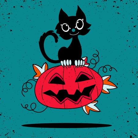 Illustration of Halloween kitten are lying happily on a pumpkin.