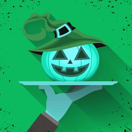 La mano del camarero sosteniendo la bandeja para la linda calabaza de Halloween con sombrero de bruja. Ilustración para el diseño Fiesta de Halloween, ilustración vectorial Foto de archivo - 88525145
